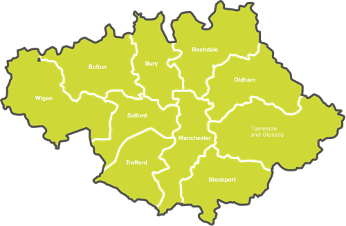 Map showing the regions of greater Manchester
